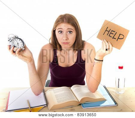 College Student Girl  In Stress Asking For Help Holding Alarm Clock Time Exam Concept