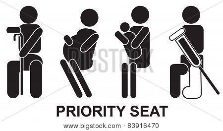 Priority seats, sign, vector, black, illustration, help
