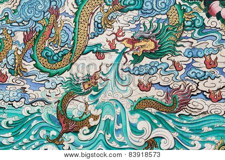 Thailand - Nov 16: Abstract Of Dragon Colorful Painted On Wall In Temple On Nov 16, 2014 In Bangkok,