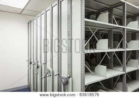 Empty Filing Cabinet With Wheel For Business Document Secret And Safety