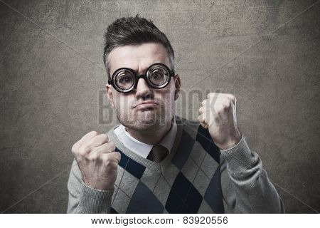 Angry Guy With Fists Raised