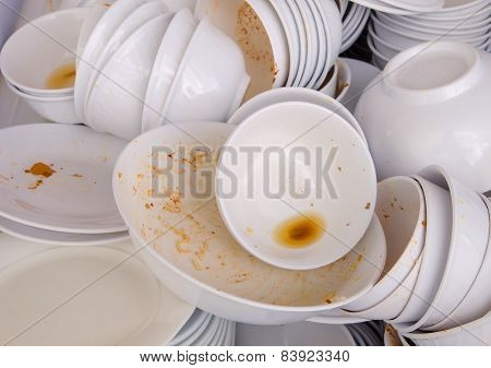 Dirty Dishes Waiting For Wash