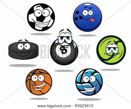 Cartoon sporting balls and puck characters