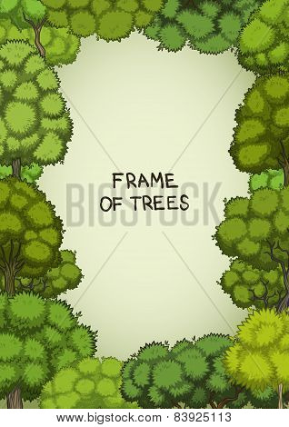 Vertical frame of the cartoon deciduous trees