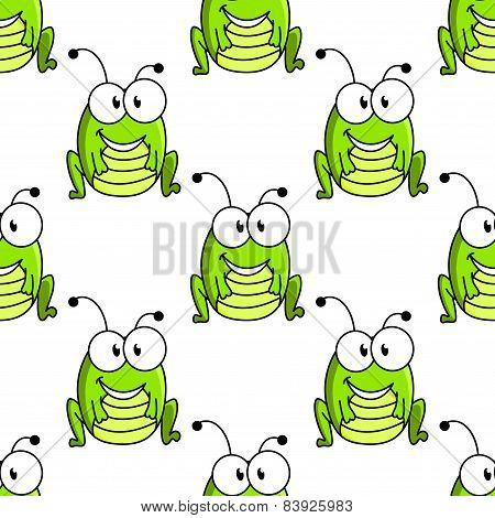 Cartoon green grasshopper character seamless pattern
