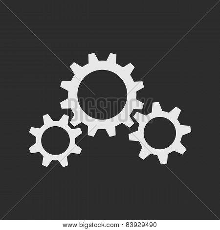 Three White Gear Wheels