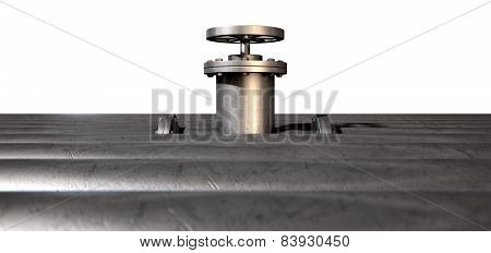 Metal Shutoff Valve And Pipes