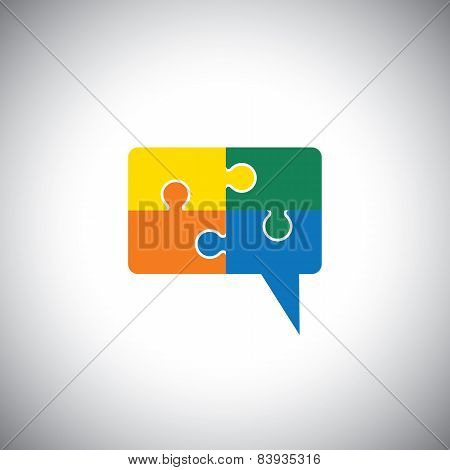 Vector Icon Of Talk Or Chat Icon Or Speech Bubble As Puzzle