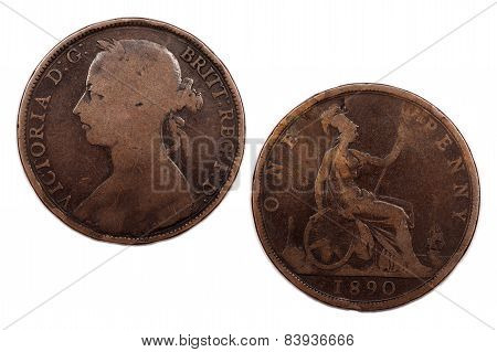 One Penny Young head 1890 Victoria