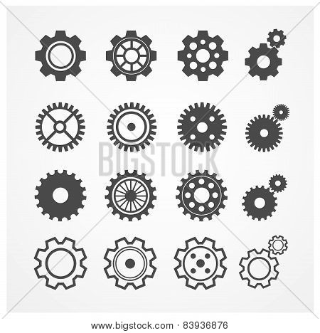 Vector gear icon set. Flat Design
