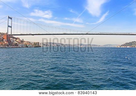 View Of The Fatih Sultan Mehmet Bridge And Bosphorus, Istanbul, Turkey