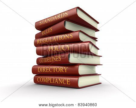 Stack of compliance and rules books with Image with clipping path, 3D renderings. poster