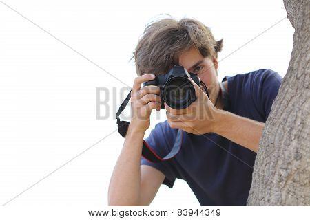 Paparazzi Taking A Photograph Hidden On White