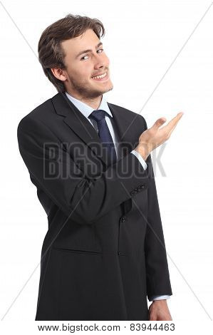 Young Businessman Presenting A Blank Promotion