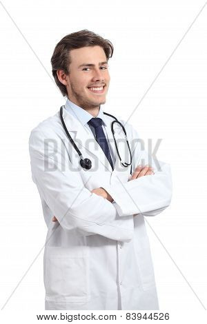 Young Happy Doctor Man Posing With Folded Arms Smiling Confident