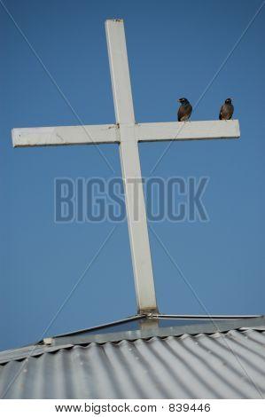 birds on top of cross