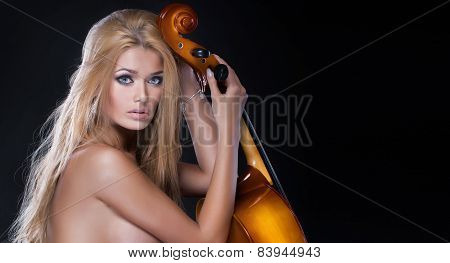 Sexy Beautiful Woman With Cello
