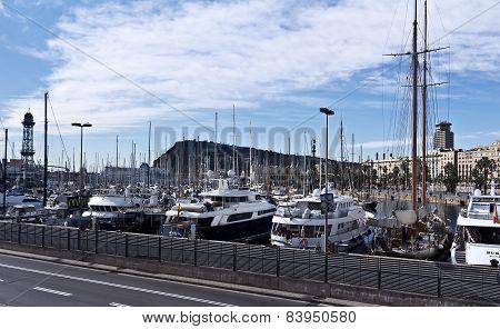 Yachts in Port Forum in Barcelona, Spain.