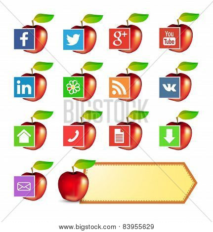 Social Media Icons For Site About Fruits