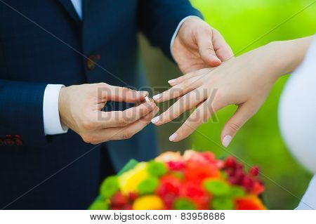 closeup of hands of bridal couple with wedding rings