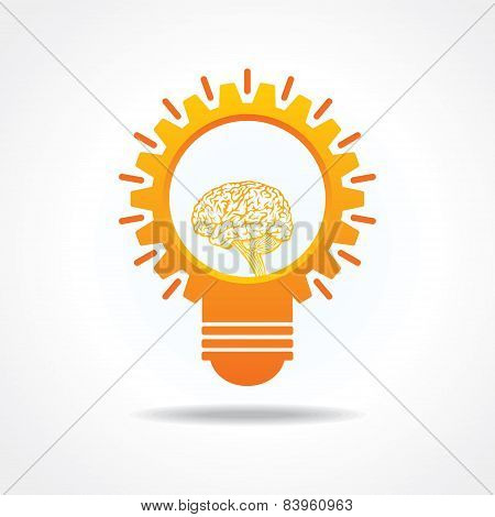Creative Idea Concept-light bulb with gear and brain design stock vector