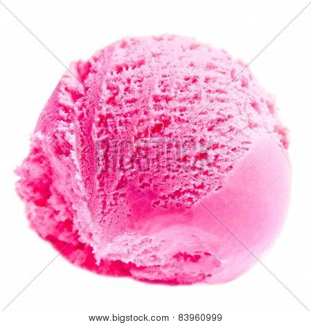 Scoop Of Strawberry Ice Cream Isolated  On White Background. Ball Of Pink Ice-cream Close Up.