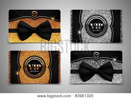 Gold And Silver Vip Cards With Glitter, Gift, Voucher, Certificate, Vector Illustration
