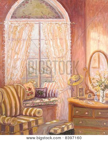 Whimsical Oil Painting Of A Child's Bedroom