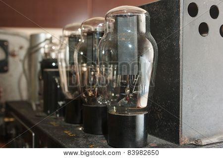 Lamps In Retro Amplifier Closeup