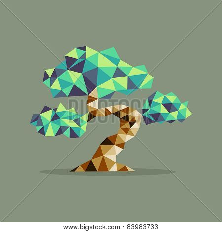 Origami Triangle Bonsai Tree Illustration