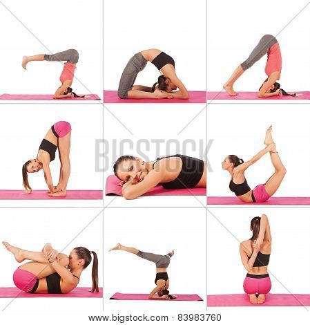 Collage Of Young Beautiful Girl Posing Yoga On White