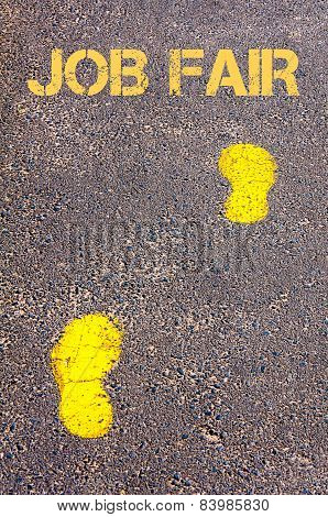 Yellow Footsteps On Sidewalk Towards Job Fair Message