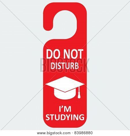 Vector hotel tag do not disturb with studing cap icon