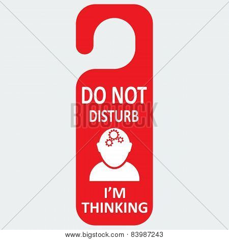 Vector hotel tag do not disturb with thinking icon