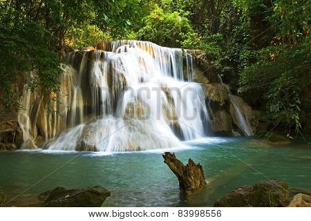 Waterfall emerald sunlight of Hui Mae Kamin Waterfall Kanchanaburi Thailand poster