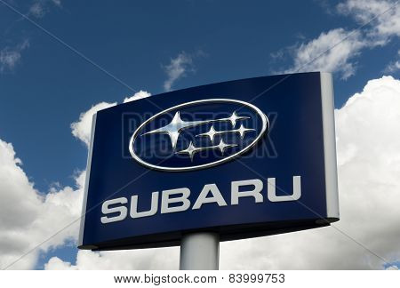 Subaru Automobile Dealership And Sign