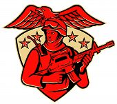 vector illustration of an american soldier swat policeman with m4 carbine rifle set inside shield with stars and eagle spreading wings. poster