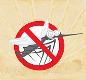 Anti mosquito sign with a funny cartoon mosquito , vector illustration poster