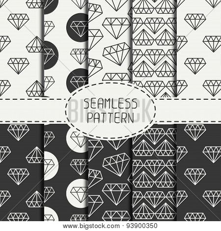 Set of monochrome hipster fashion geometric seamless pattern with diamond. Wrapping paper. Paper for