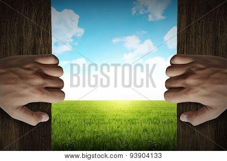 Man Hand Open Door Into Outside