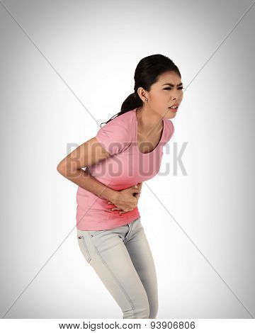 Young Asian Woman Have Stomach Ache