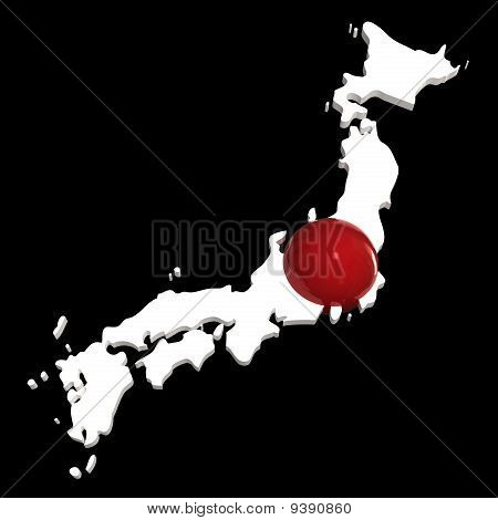 Japan, Map with Flag, Isolated on Black
