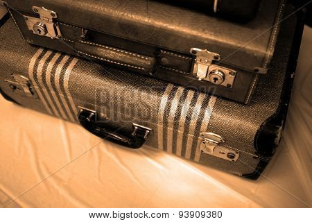 Detail of old suitcases symbolizing journey or embarking on a trip adventure