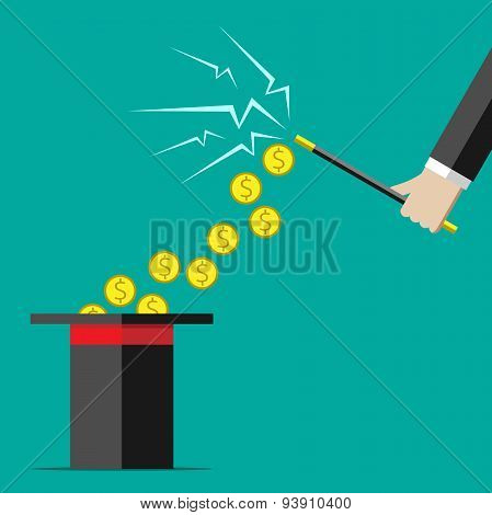 Hand With Wand And Money
