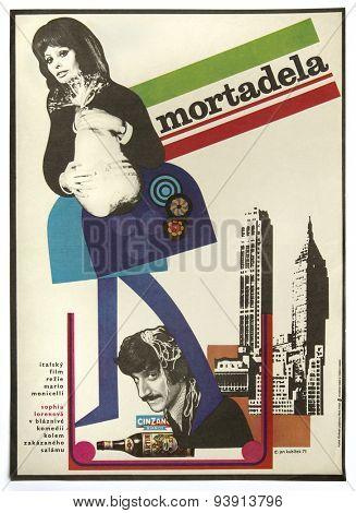 CZECHOSLOVAKIA - CIRCA 1973: poster printed in Czechoslovakia - Czech art design of Jiri Kubicek for italian movie La Mortadella - Lady Liberty with Sophia Loren, director - Mario Monicelli, 1971