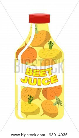 Turnip juice. Juice from fresh vegetables. Turnip in a transparent bottle.