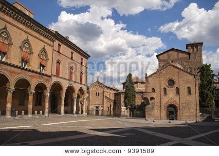 Square And Church In Bologna