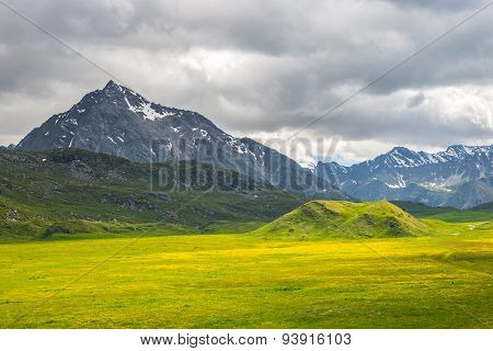 Colorful Alpine Landscape With Dramatic Sky