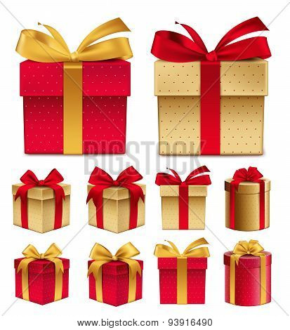 Realistic 3D Collection of Colorful Red Pattern Gift Box