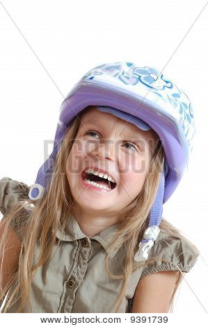 little happy gilr with a helmet isolated over white poster